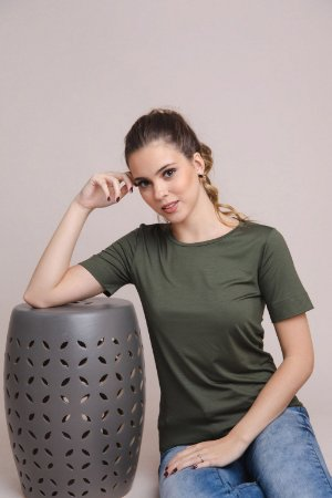 T-Shirt Feminina Gola Careca Modal - Verde Oliva