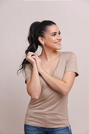 T-Shirt Feminina Gola V Modal - Areia