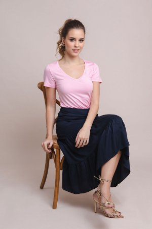 T-Shirt Feminina Gola V Modal - Tutti Frutti