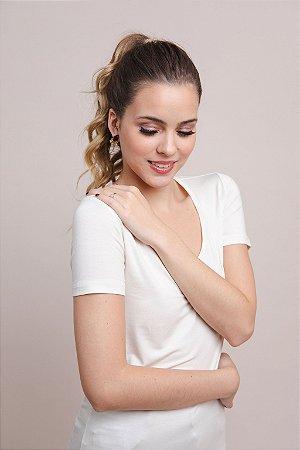 T-Shirt Feminina Gola V Modal - Off White