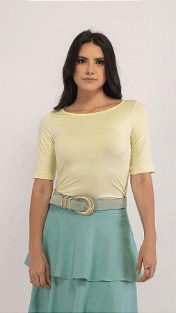 T-Shirt Feminina Gola Canoa Modal - Lemonade