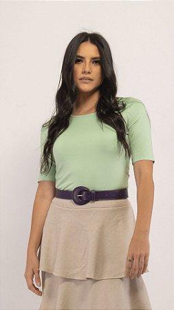 T-Shirt Feminina Gola Canoa Modal - Pistache