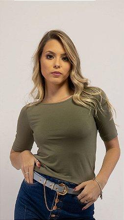 T-Shirt Feminina Gola Canoa Modal - Novo Oliva