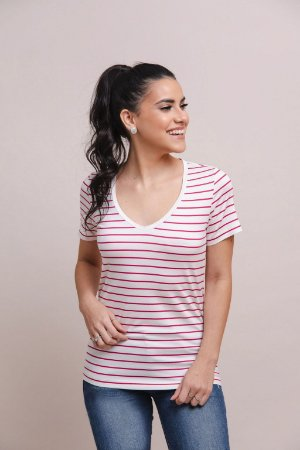 T-Shirt Feminina Gola V Modal - Listras
