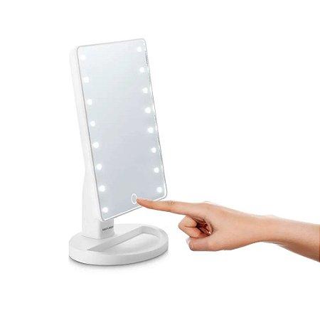 Espelho Touch Multilaser á Pilhas Branco Para Penteadeira Pequeno Portatil Com Led Iluminado