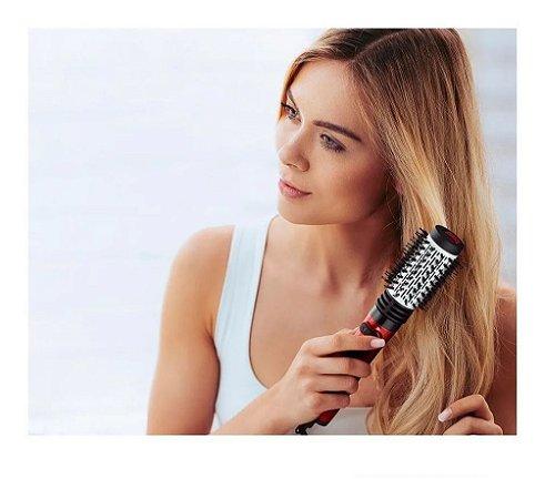 Escova Rotativa Elétrica Essenza Beauty que Seca Modela Alisa Enrola Cabelo Giratória 220V 1000W Vermelha