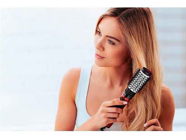Escova Rotativa Elétrica Essenza Beauty que Seca Modela Alisa Enrola Cabelo Giratória 110V 1000W Vermelha