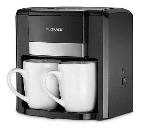 Cafeteira Eletrica Com 2 Xicaras Porcelanas 220V Com Filtro Permanete Preta