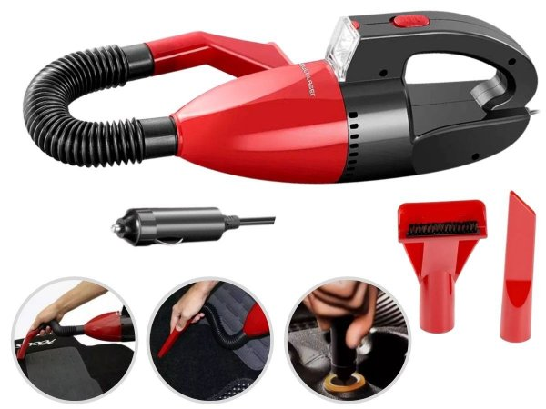 Aspirador de Pó E Líquido Automotivo Portátil 12V Vermelho Multilaser