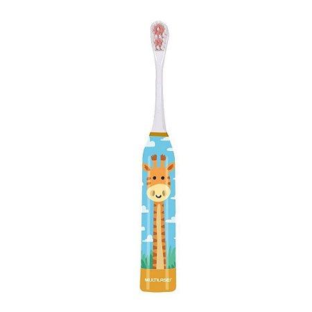 Escova De Dente Elétrica Infantil Para Criança + Refil Novo da Girafa Multilaser HC082