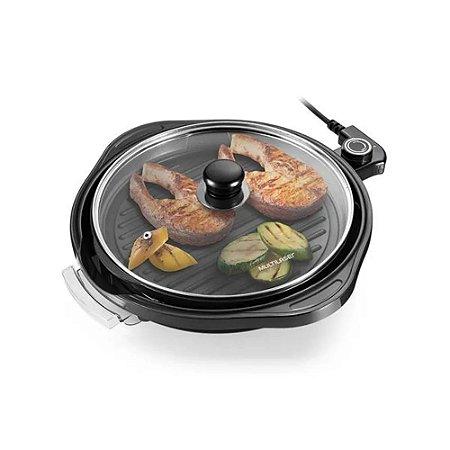 Panela Grill Redonda 220v Gourmet para Fazer Frango Carnes Frutos Do Mar Pizzas Omeletes  Multilaser 30cm CE054