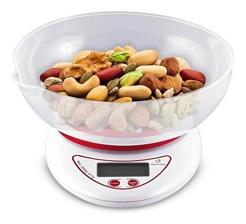 Balança De Cozinha Eletrônica Para Pesar Alimentos com Tigela Capacidade até 5KG Branca