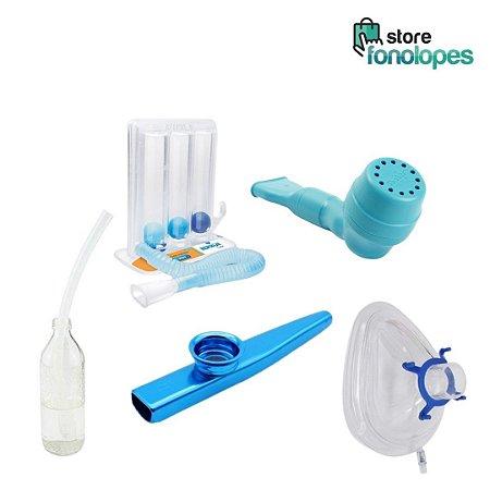 Kit Exercicio Respiratorio - Respiron Classic + Shaker Classic + Máscara Coxim + LaxVox + Kazoo