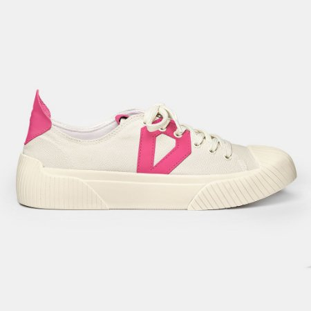 Tênis Slim Diamond Lona Bege Pink