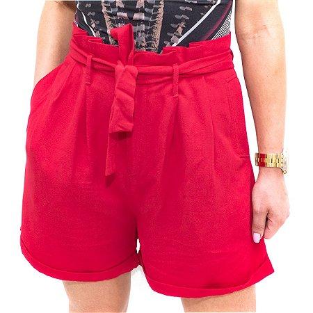 Shorts Flor De Lis Alfaiataria Vermelho M