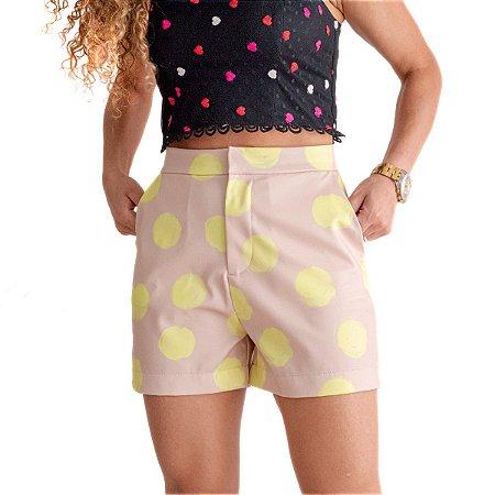 Shorts Feminino Curto Amarelo Poas Artisticos
