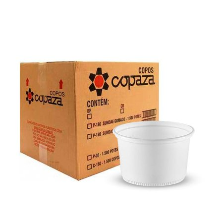 Pote Plástico 250ml   Copaza   Pacote com 50 Unidades