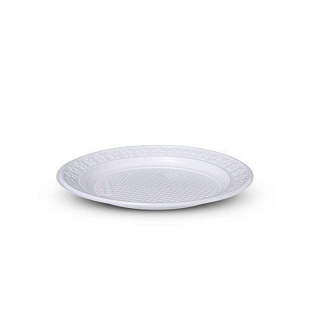 Prato Plástico Descartável   21cm   Branco   500 Unidades