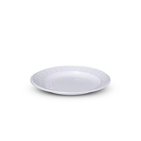 Prato Plástico Descartável   18cm   Branco   500 Unidades