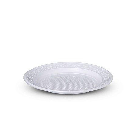 Prato Plástico Descartável | 23cm | Branco | 10 Unidades