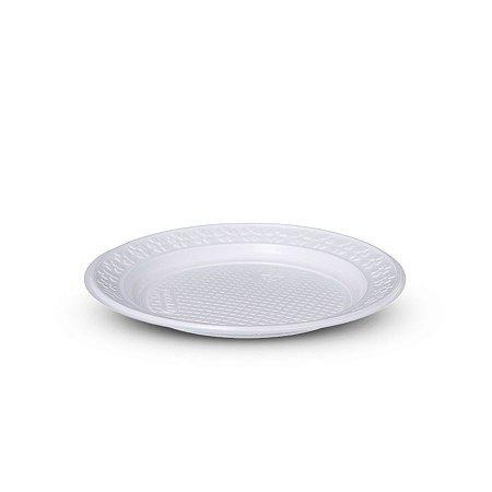 Prato Plástico Descartável | 23cm | Branco | 250 Unidades
