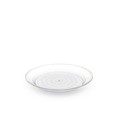 Prato Redondo de Acrílico   22cm   Crsital   10 Unidades