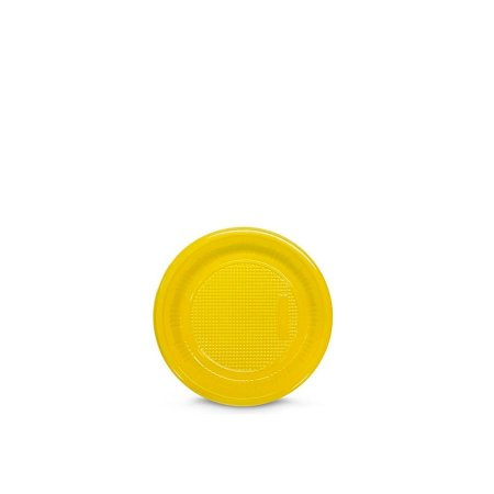 Prato Plástico Descartável | 15cm | Amarelo | 10 Unidades