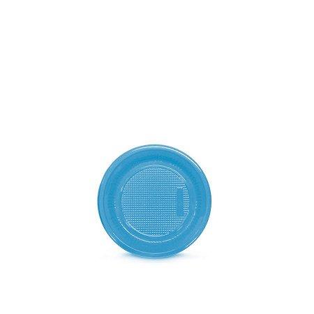 Prato Plástico Descartável   15cm   Azul Claro   10 Unidades