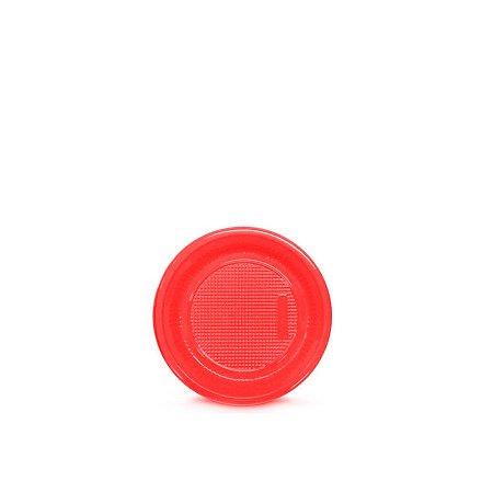 Prato Plástico Descartável   15cm   Vermelho   10 Unidades