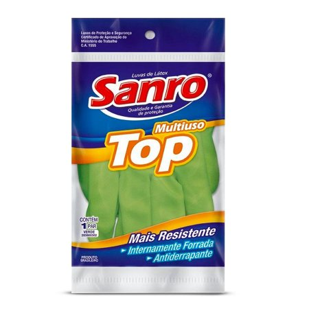 Luva de Látex Multiuso Top   Sanro   Verde   Tamanho G