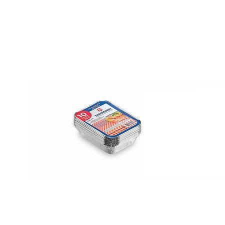 Marmitex Retangular de Alumínio 230ml | Thermoprat | 10 Unidades