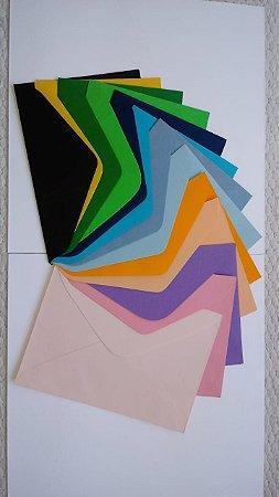 Envelopes carta todas as cores, pacote com 20 por R$5,00