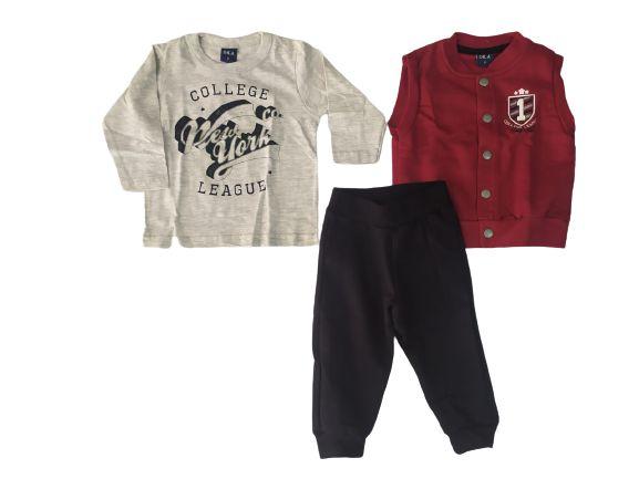 Conjunto camiseta com colete e calça moletom Dila (15701271)