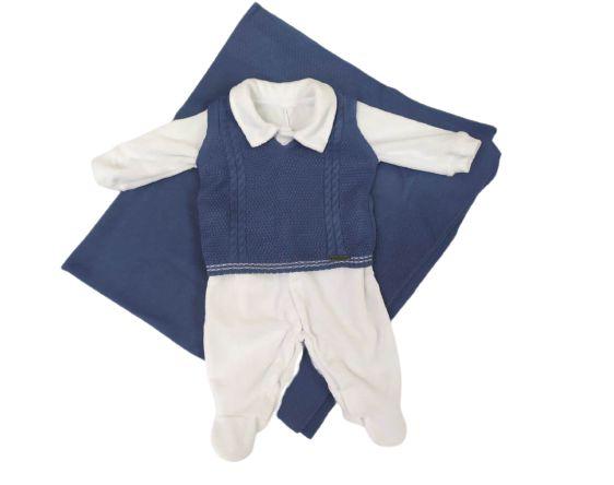 Saída de Maternidade em plush com colete e manta em linha Fofinho (421011)