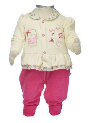 Macacão para bebê menina em plush Paris Beka (BK376)