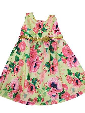 Vestido floral curto menina