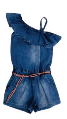 Macaquinho jeans menina com cinto