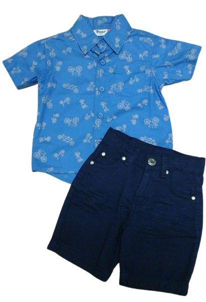 Conjunto bebê camisa bicicleta com bermuda sarja