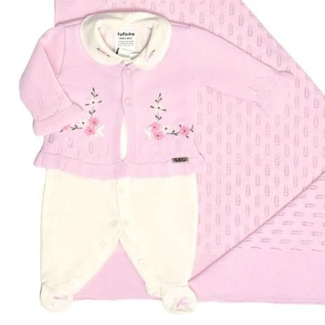 Saída de Maternidade Gracy rosa com off white