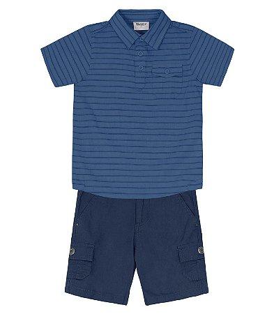 Conjunto com camisa manga curta e bermuda sarja Trick Nick (108782)