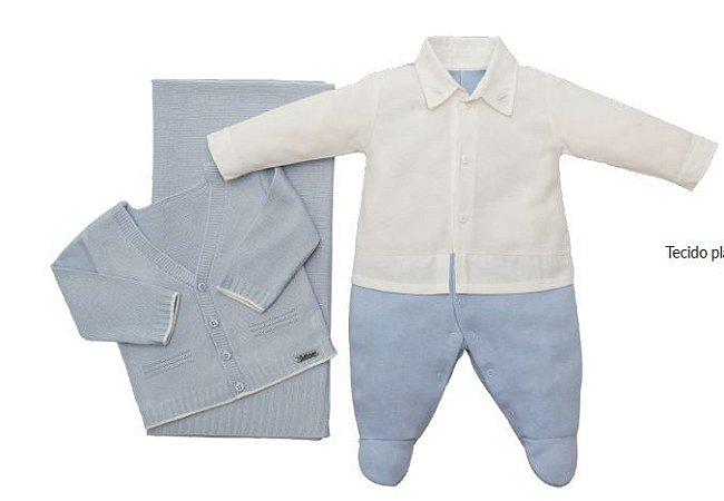 Saída de Maternidade em malha com casaco e manta em linha Fofinho (421003)