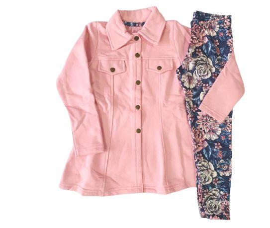 Conjunto com casaco em moletom e legging floral Dila (15102324)