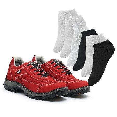 Tênis em couro legítimo Zarb - Vermelho - 6 - Pares de Meia