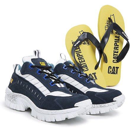 Tênis Caterpillar Intruder azul + chinelo