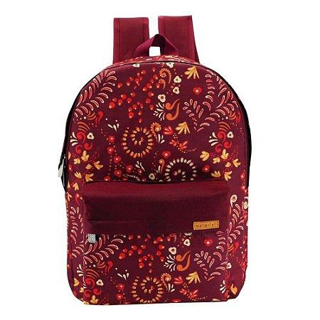 Mochila Escolar Feminina Colorizi Vermelho Outono Estampada