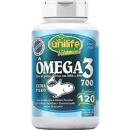 Ômega 3 700mg 120 caps  Óleo de Peixe - Unilife Vitamins