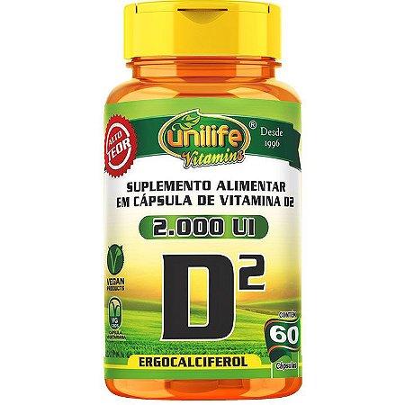 Vitamina D2 Vegana 60 caps  Ergocalciferol - Unilife Vitamins