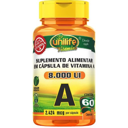 Vitamina A 60 cápsulas  Retinol - Unilife Vitamins