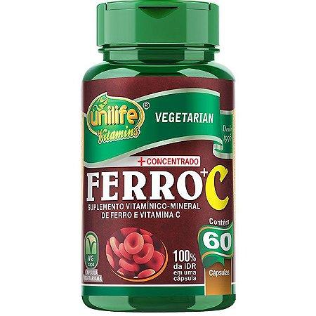 Ferro +C ferro com Vitamina C 60 caps - Unilife Vitamins