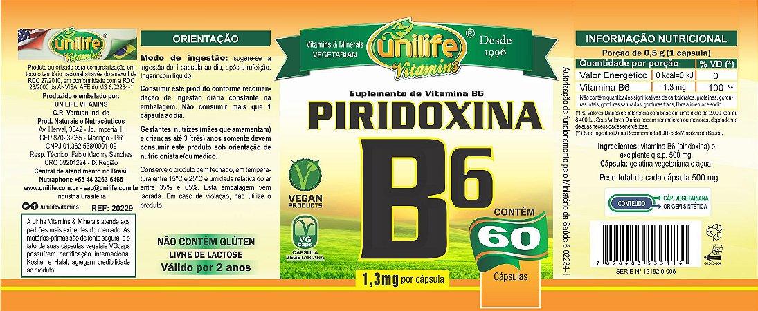 Vitamina B6 60 caps - Unilife Vitamins